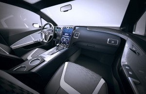 Photorealistic rendering of a non-branded concept car interior.