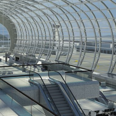 AutoCAD Family campaign image. Rendering of an airport terminal illustrating the design capabilities of AtuoCAD(R) software.