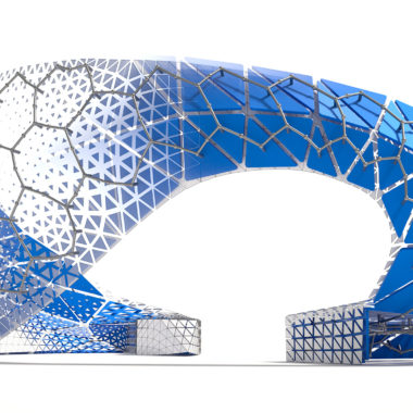 Image of the Dynamo Pavillion which was digitally fabricated and generatively designed by Autodesk's AEC Generative Desgin team for Autodesk University 2018.